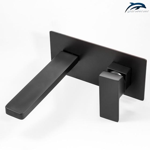 Змішувач для умивальника прихованого монтажу KGRB-02 латунний чорного кольору.