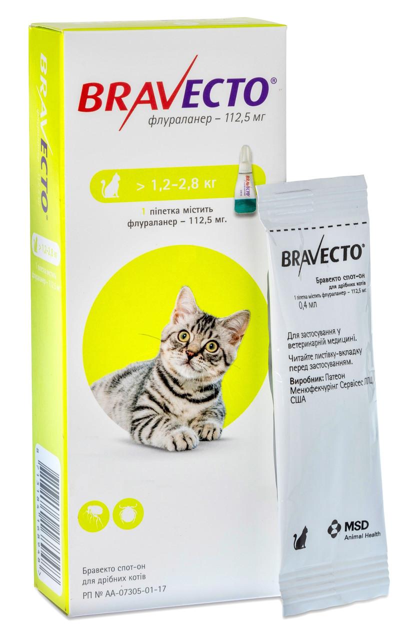 Краплі від бліх і кліщів Бравекто Bravecto для кішок 1,2 - 2,8 кг 1 піпетка
