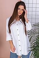 Женская рубашка с рукавом три четверти из хлопка на пуговицах с воротником (42-60), фото 1