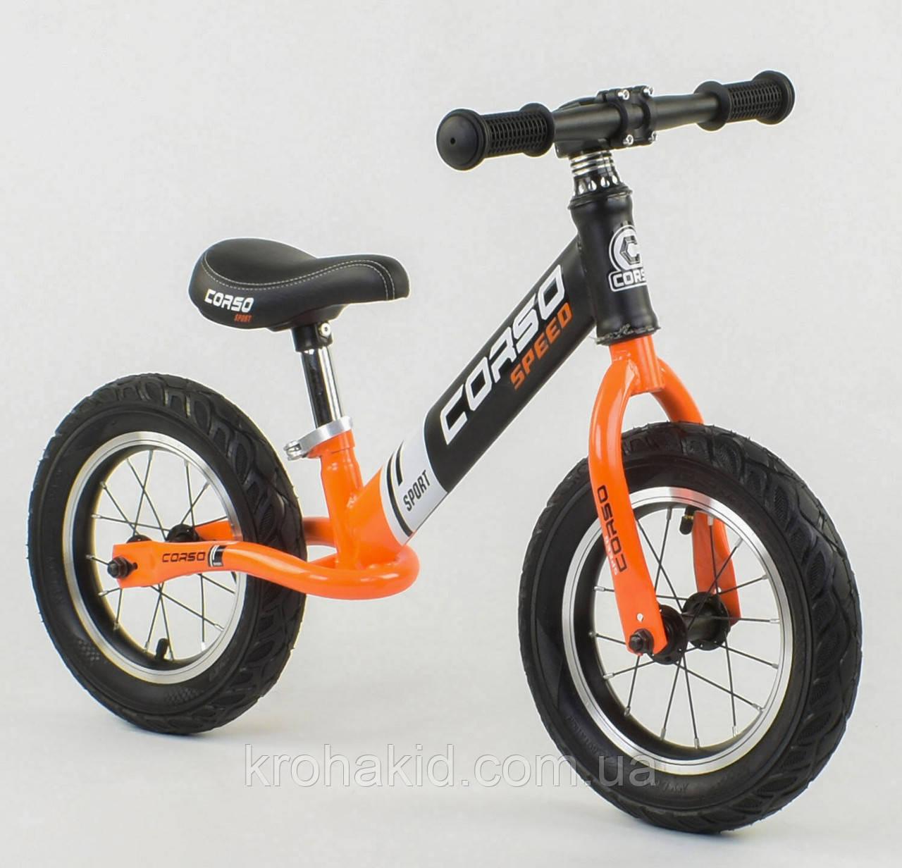 """Детский велобег """"CORSO"""" 24846, стальная рама, надувные колёса, размер колес - 12 (оранжевый)"""
