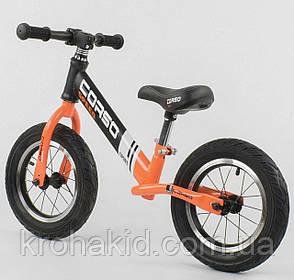 """Детский велобег """"CORSO"""" 24846, стальная рама, надувные колёса, размер колес - 12 (оранжевый), фото 2"""