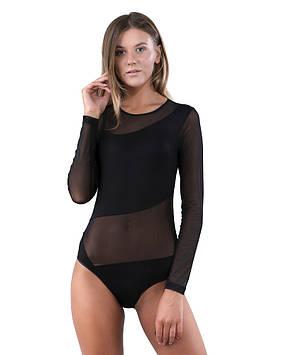 Сексуальне чорне боді жіноча з довгими рукавами (в розмірах XS-XL) розмір XS