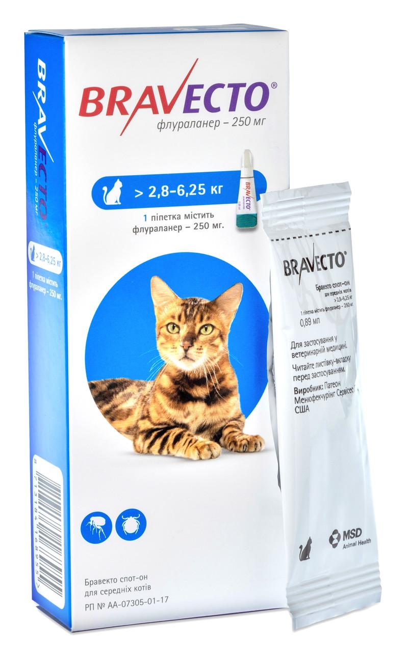 Капли от блох и клещей Бравекто Bravecto для кошек 2,8 - 6,25 кг 1 пипетка