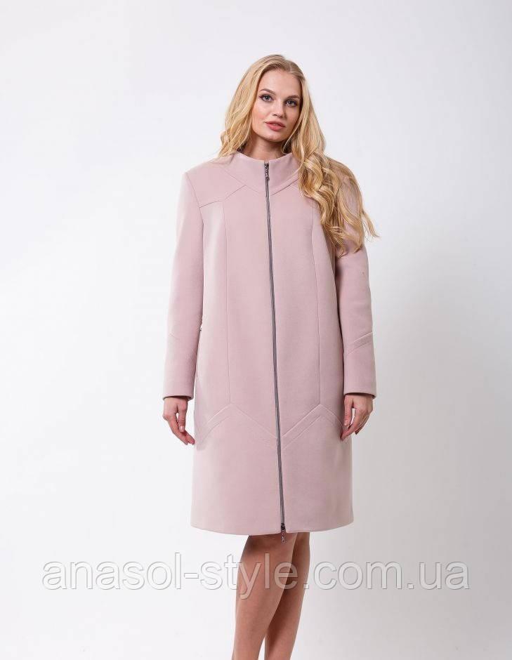 Женское элегантное пальто на стойку свободного покроя пудра