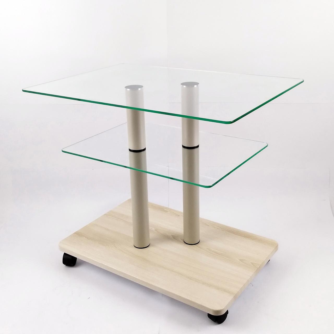 Стол журнальный стеклянный прямоугольный Commus Bravo Light P6 clear-pepel-2bg50