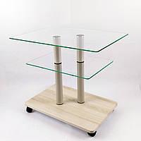 Стол журнальный стеклянный прямоугольный Commus Bravo Light P6 clear-pepel-2bg50, фото 1