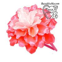 Квітка рожевий великий 14см на обідку, шпильки, гумки Будь-які кольори під замовлення ручна робота