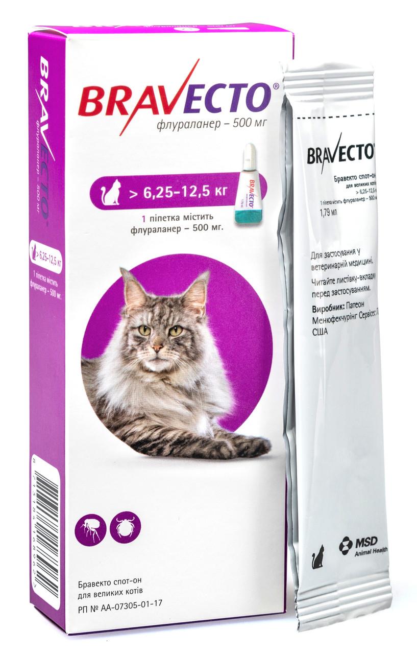 Капли от блох и клещей Бравекто Bravecto для кошек 6,25 - 12,5 кг 1 пипетка
