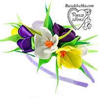 Квіти весняні крокуси на обідку, шпильки, гумки Будь-які кольори під замовлення ручна робота