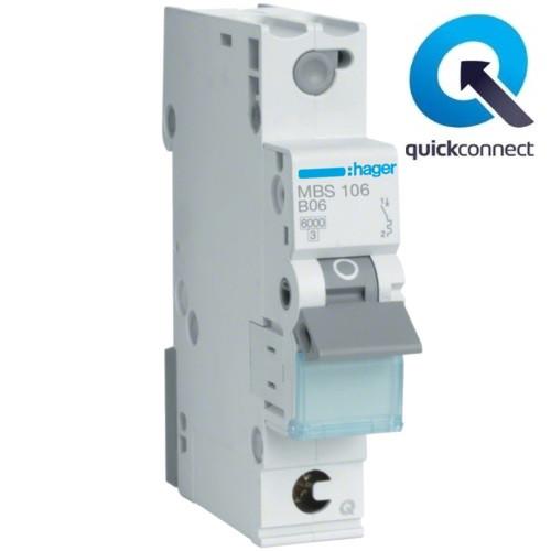 Автоматический выключатель Quick Connect  Hager MBS106. Iн=6А, хар-ка B