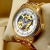 Механические мужские наручные часы скелетоны Rolex A190 Skeleton золотого цвета с автоподзаводом белый циферб