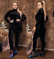 Женский бархатный костюм туника+лосины №030 (р.48-58) \ черный, фото 1