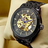 Механические мужские наручные часы скелетоны Rolex A190 Skeleton черного цвета с автоподзаводом