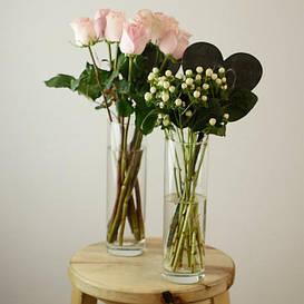 Вазы для цветов и флористики, стеклянные подсвечники и тубусы для декора. Вазы для рынка HOREKA