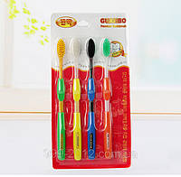 Набор зубных щеток с бамбуковым угольным напылением - 4шт разных Новинка!, фото 1