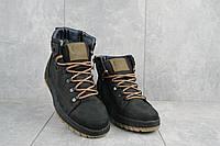 Мужские ботинки кожаные зимние черные-оливковые CrosSAV 322 на шнурках