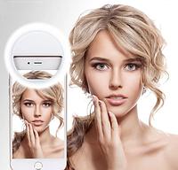 Светодиодное селфи кольцо Selfie Ring Light БЕЛОЕ  на аккумуляторе