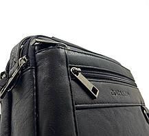 Кожаная мужская сумка Gorangd 19 x 14,5 x 8см Черный (g9393), фото 3