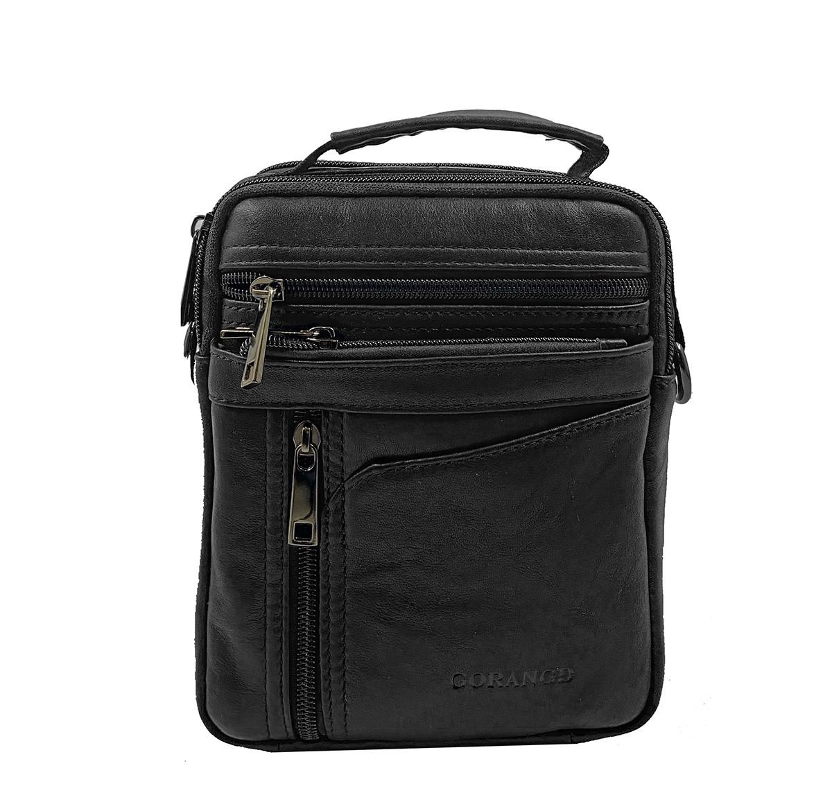 Кожаная мужская сумка Gorangd 16 x 20 x 8см Черный (g9351)