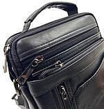 Кожаная мужская сумка Gorangd 16 x 20 x 8см Черный (g9351), фото 2