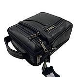 Кожаная мужская сумка Gorangd 16 x 20 x 8см Черный (g9351), фото 3