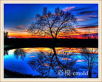 "Алмазная вышивка ""Черное озеро на фоне заходящего солнца"