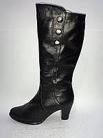 Кожаные женские зимние классические сапожки на каблуке 39р Maxi