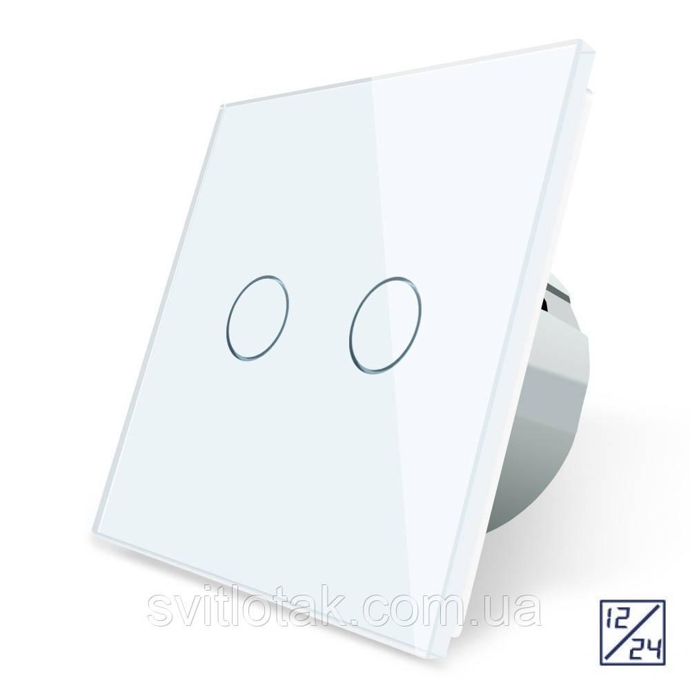 Сенсорный выключатель Livolo 12/24В 2 канала белый стекло (VL-C702C-11)