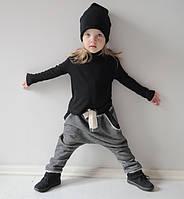 Трикотажные штаны гаремы с черными манжетами. Унисекс. 86, 92 см