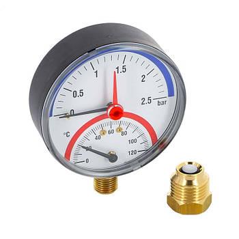 Термоманометр радиальный Watts F+R828 (TIRM 80 0-6Bar 0-120°C)