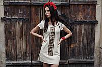 Сукня з льону з вишивкою Орнамент коричневий