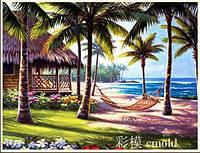 """Алмазная вышивка """"Пальмы, море и бунгало"""""""
