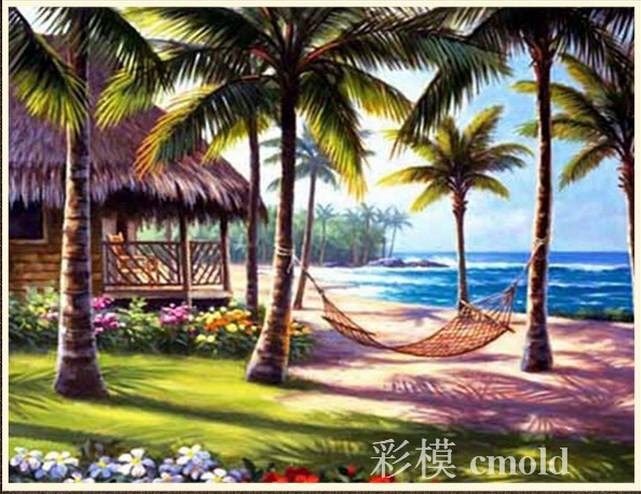 Схема вышивки пальмы и море