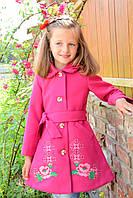 Осеннее пальто из кашемира с вышивкой на девочку Рост 98-110 см