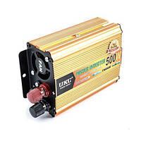 Инвертор преобразователь напряжения UKC 24-220 V 500 W Золотистый