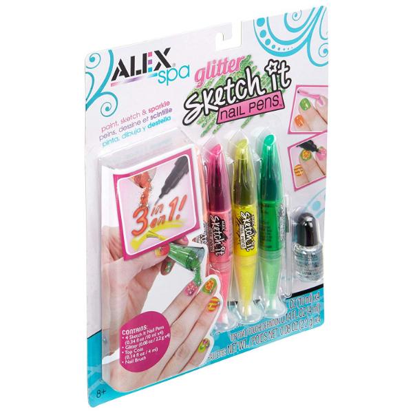 Alex Toys Набор ручек для ногтей с блестками Spa Glitter Sketch It Nail Pens