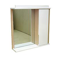 """Зеркало для ванной комнаты с подсветкой и шкафчиком """"Лаконика"""" 80 см (цвет - дуб молочный)"""