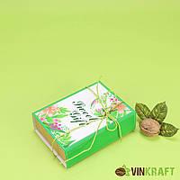 """Подарункова коробка 135*98*43 """"М"""", зелений принт"""