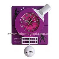 """Часы для интерьера, настенные (большие) """"Настольный тенис"""" (Фиолетовые)"""