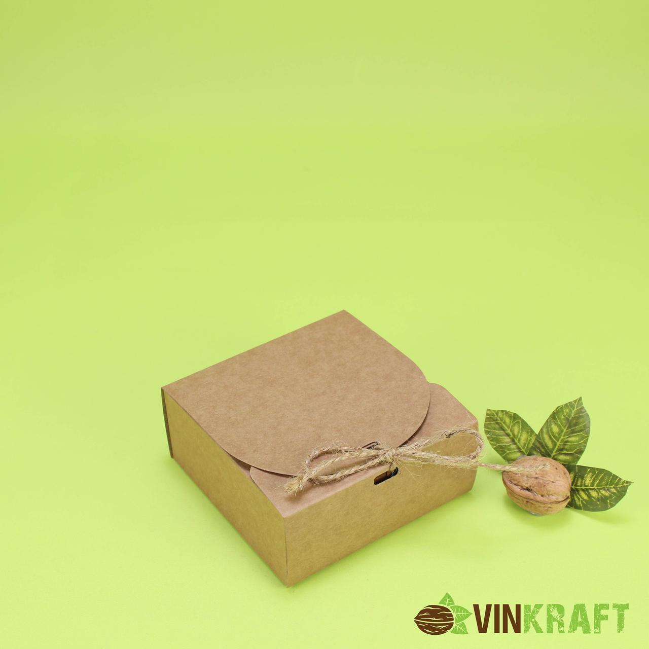 Подарункова коробка 115*115*50 з стрічкою, крафт