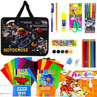 """Подарочный набор канцтоваров для мальчика (папка """"Motocross"""" 26*32*9см S2009)"""