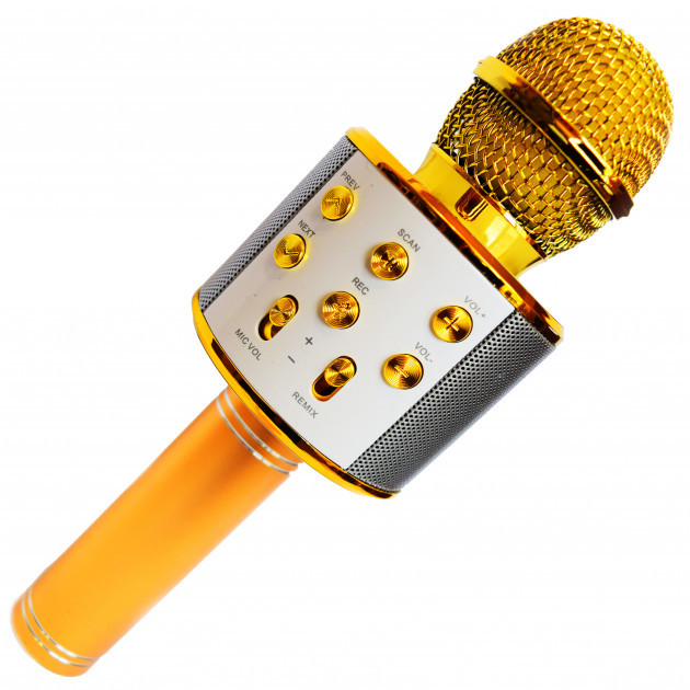 Беспроводной микрофон для караоке Wester WS-858 портативная колонка Золотой 858 Gold