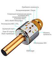 Беспроводной микрофон для караоке Wester WS-858 портативная колонка Золотой 858 Gold, фото 3