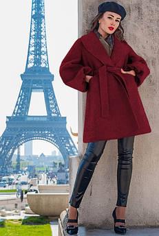 Бордовое модное пальто Майа букле