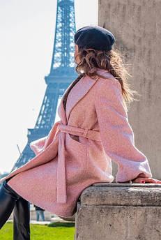 Розовое пальто Майа букле