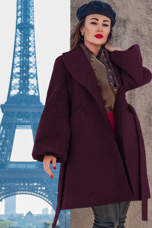 Модное пальто Майа букле божоле