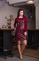 Женское платье по колено из эко-кожи  Батал, фото 1