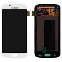 Дисплейный модуль (дисплей + сенсор) для Samsung Galaxy S6 G920F, белый, оригинал