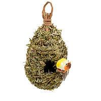 Настенный декор гнездо соломенное с листьями 23х12х12 см с птичкой (43210.001)