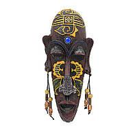 Настенная маска туземец полистоун 20х9х3,5 см желтый рисунок под дерево (43707.001)